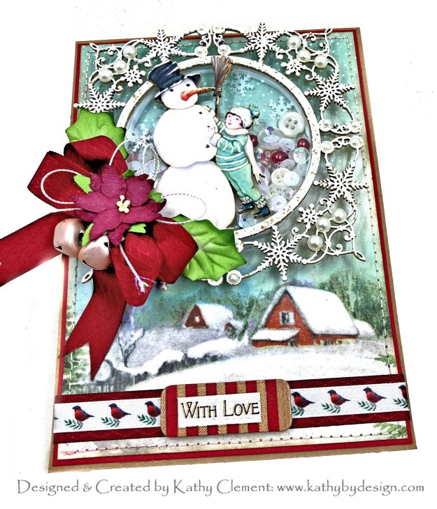 Stamperia Traditional Christmas Snowman Shaker Card Reneabouquets Beautiful Board by Kathy Clement Kathy by Design for Really Reasonable Ribbon Photo 01