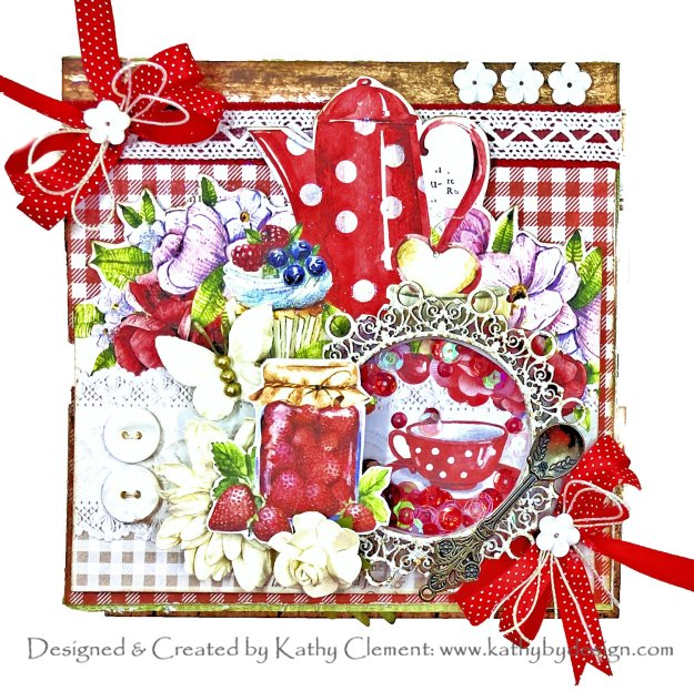 Lemoncraft Delicious Strawberry Tea Party Shaker Easel Card Reneabouquets by Kathy Clement Kathy by Design Photo 01