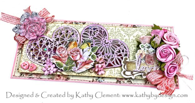 Spellbinders Expressions of Love Slimline Shaker Card Little Birdie Shabby Chic Paper Collection Rosalind Pearl Pink Roses by Kathy Clement Kathy by Design Photo 01