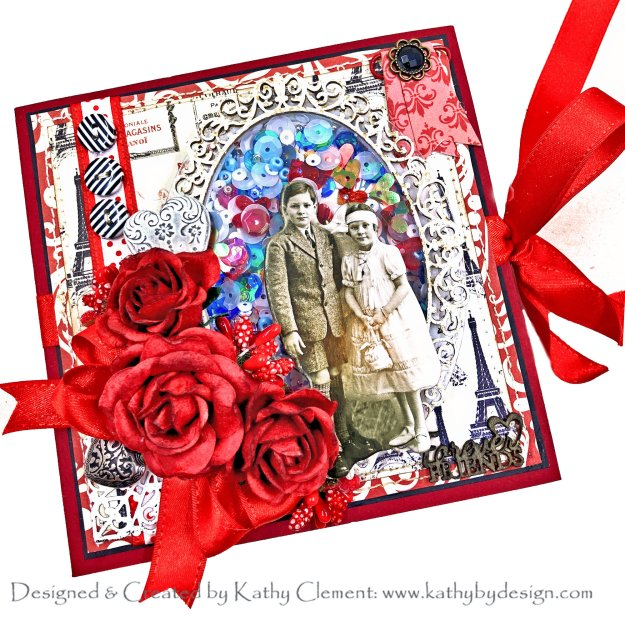 True Love Card Folio Echo Park Amour Collection by Kathy Clement Kathy by Design for Really Reasonable Ribbon Photo 01