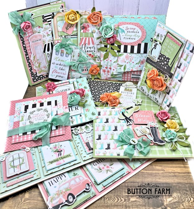 Button Farm Club Carta Bella Flower Garden Card Kit Reveal by Kathy Clement Photo 01