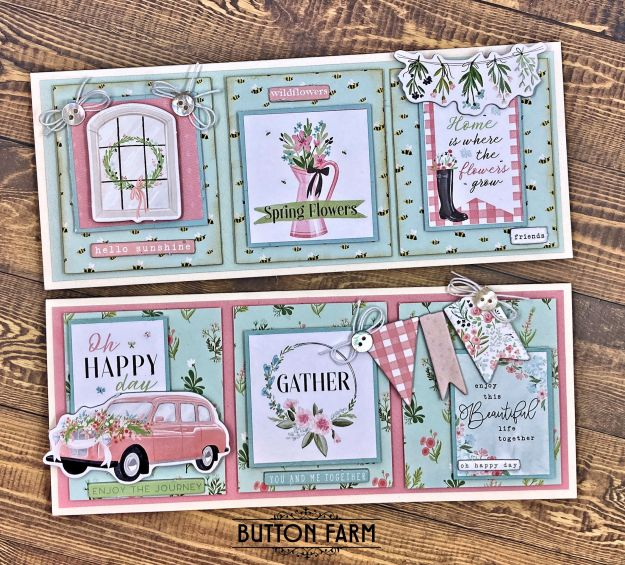 Carta Bella Flower Garden Slimline Cards by Kathy Clement for The Button Farm Club