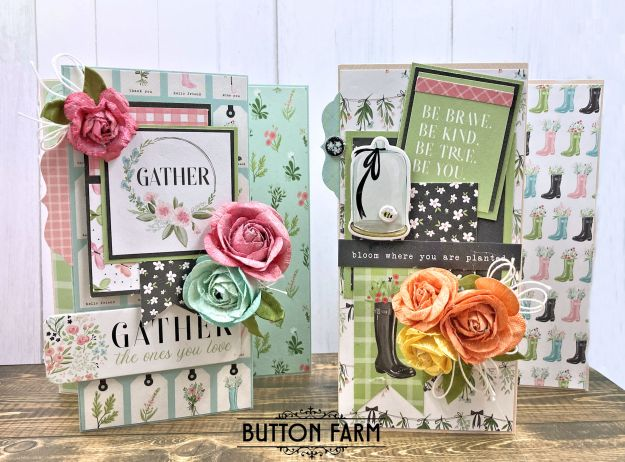Trifold Cards Carta Bella Flower Garden Card Kit by Kathy Clement for The Button Farm Club