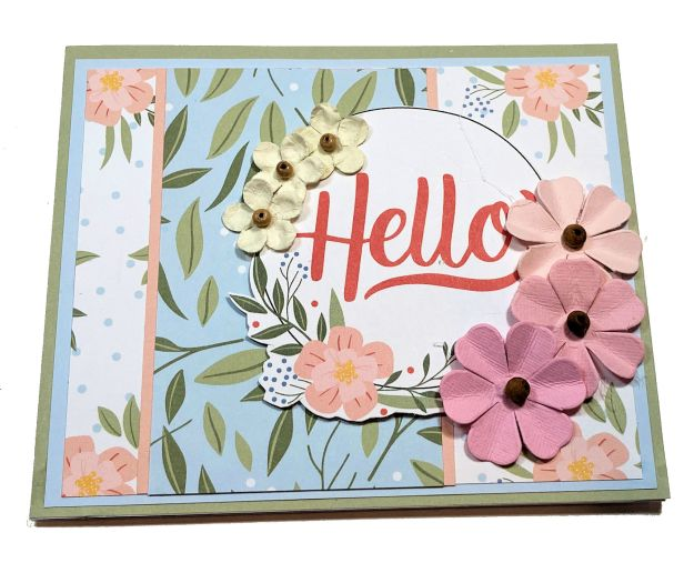 Hello Fancy Fold Pop Up Card Echo Park Salutations 1 by Kathy Clement