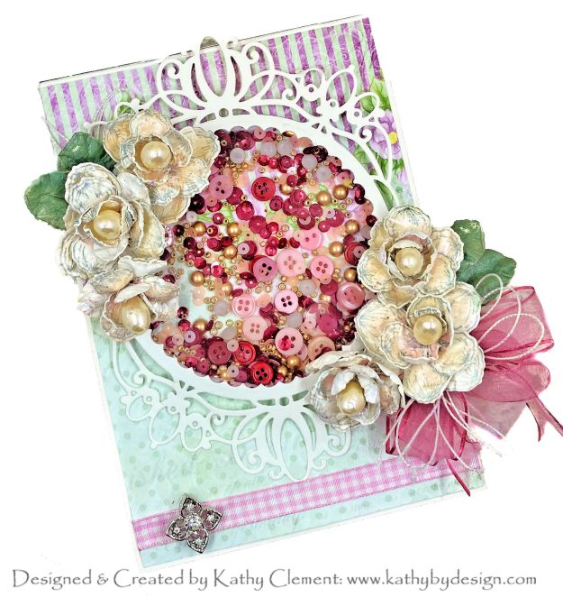 Heartfelt Creations Sweet Magnolia Shaker Card by Kathy Clement PHoto 01