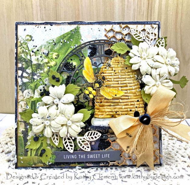 Bee Themed Botanical Card Simple Stories Farmhouse Garden Reneabouquets by Kathy Clement for Really Reasonable Ribbon Photo 01