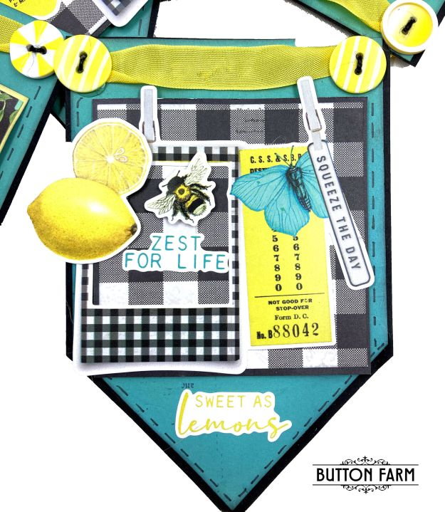 Simple Stories Lemon Twist Creative Kit for The Button Farm Club by Kathy Clement Photo 01