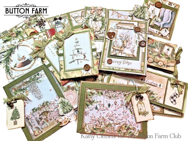 Button Farm Club Cosy Winter Christmas Card Kit by Kathy Clement Photo 01