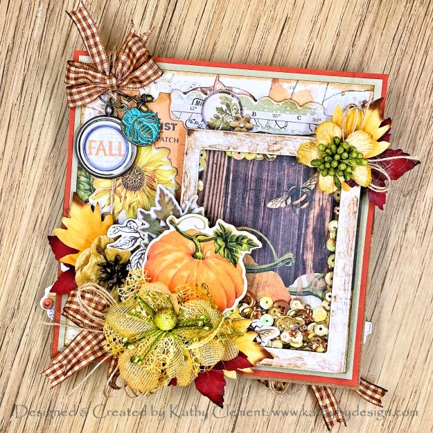 Simple Stories Autumn Splendor Shaker Easel Card Tutorial by Kathy Clement Photo 01