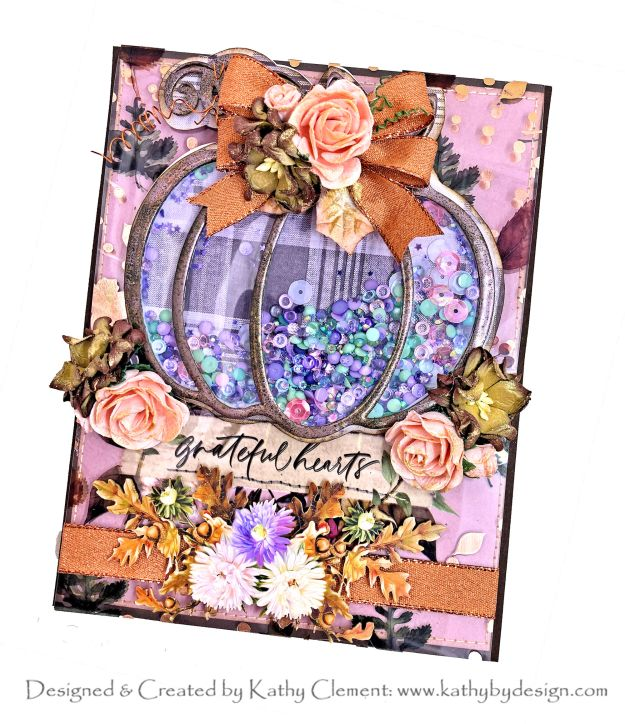 Prima Hello Pink Autumn Shaker Card Tutorial by Kathy Clement Photo 01