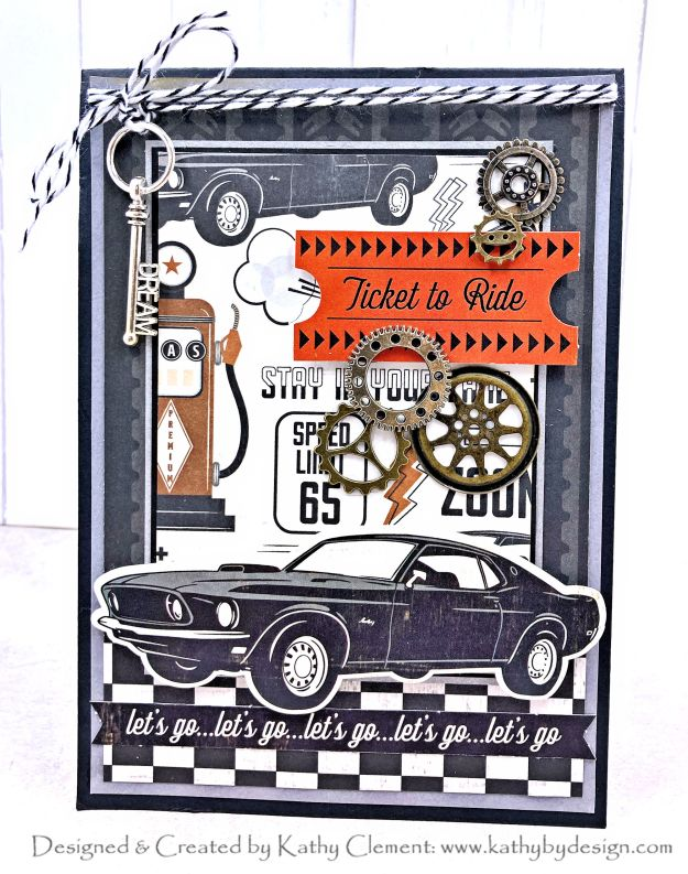 Ticket to Ride Masculine Card with Photoplay Grease Monkey by Kathy Clement