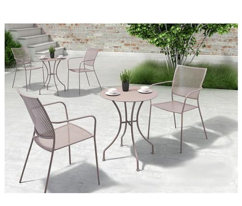 ollie french country steel round outdoor bistro dining table