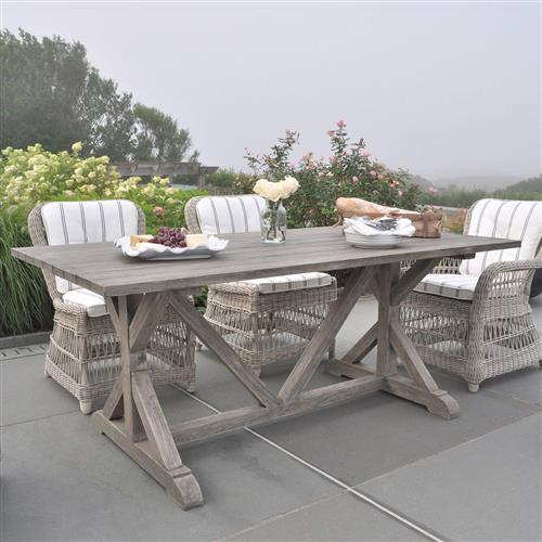 kingsley bate provence french country grey teak outdoor dining table 73 inch