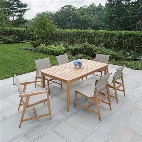 kingsley bate marin modern classic grey teak outdoor dining arm chair