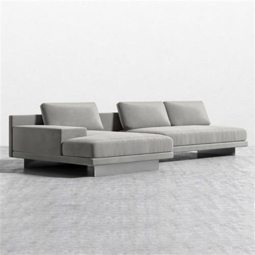 rove concepts dresden modern dusk grey velvet sectional sofa with storage table