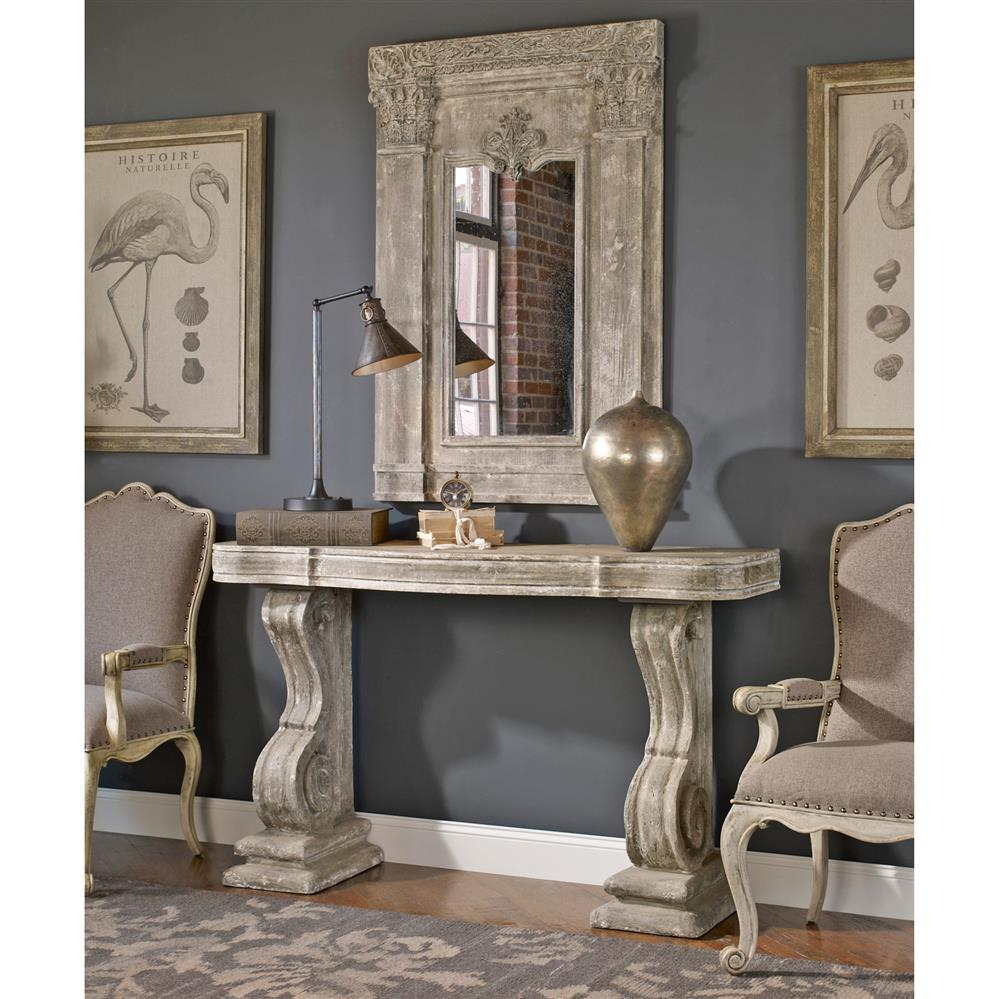 Lisette French Country Antique Grey Stone Carved Console Table