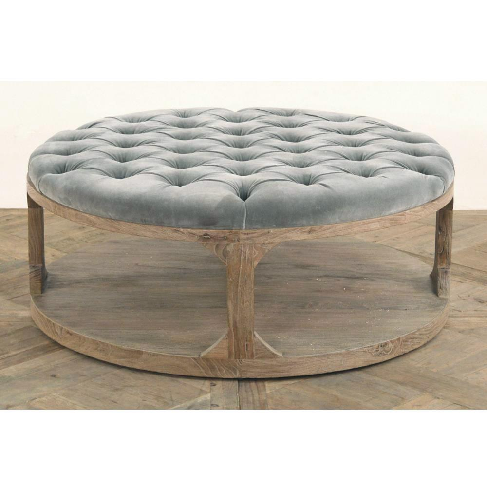 Marie French Country Round Grey Blue Tufted Wood Coffee Table