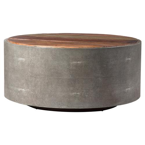 dieter rustic modern grey faux shagreen wood round round coffee table