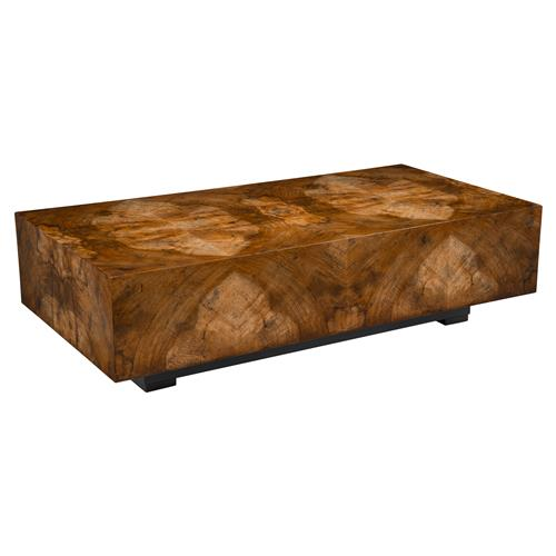 john richard larron rustic modern walnut burl slab rectangular block coffee table