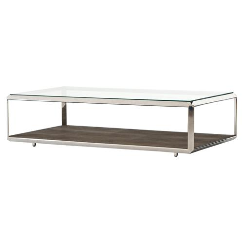 gabor modern regency brown shagreen silver glass rectangular coffee table