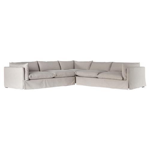 barrows modern classic grey beige cushion back slipcover sectional sofa