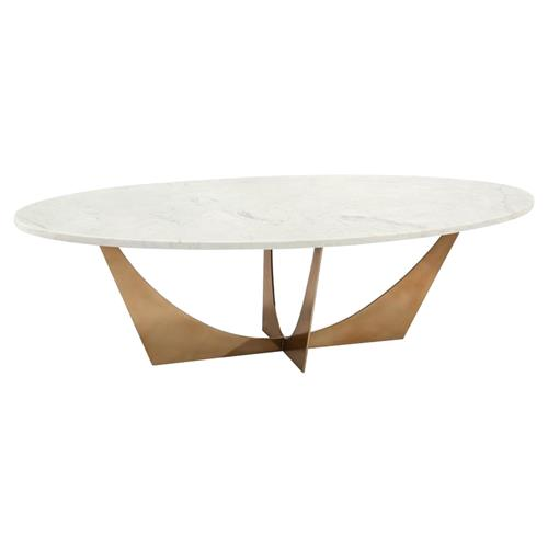 john richard modern classic marble brass oval cocktail table