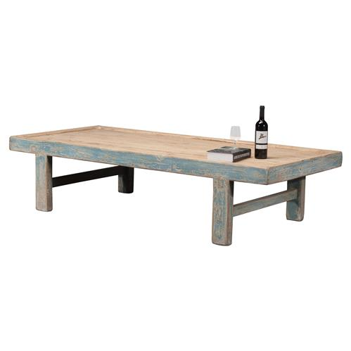 viel rustic french rustic blue pine wood rectangular coffee table