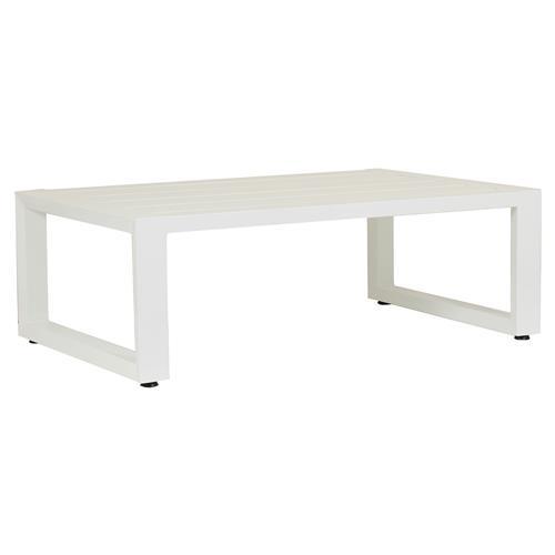 sunset west newport modern white metal rectangular outdoor coffee table