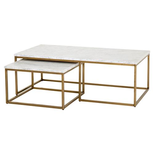 carol modern classic white marble top brushed gold nesting rectangular coffee table set