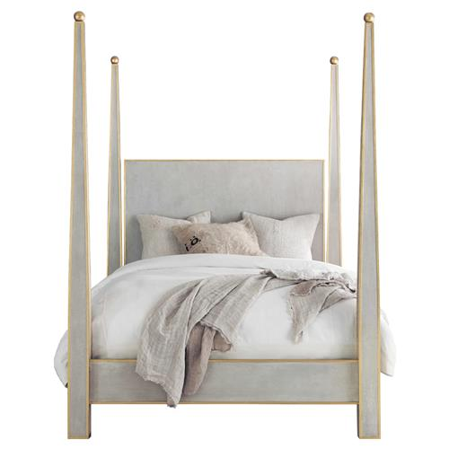 carla modern classic gold leaf trim antique grey wood 4 poster bed queen