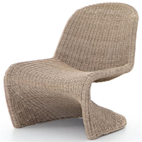 ivanna coastal beach round light brown woven wicker outdoor dining chair
