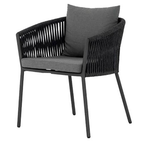 patty modern classic grey upholstered black woven metal outdoor dining chair