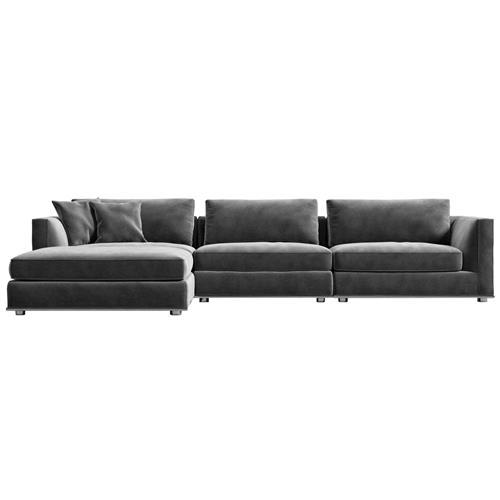 rove concepts milo modern classic glacier grey velvet modular sectional sofa