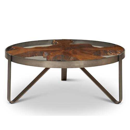 buck rustic lodge teak wood glass stainless steel round round coffee table