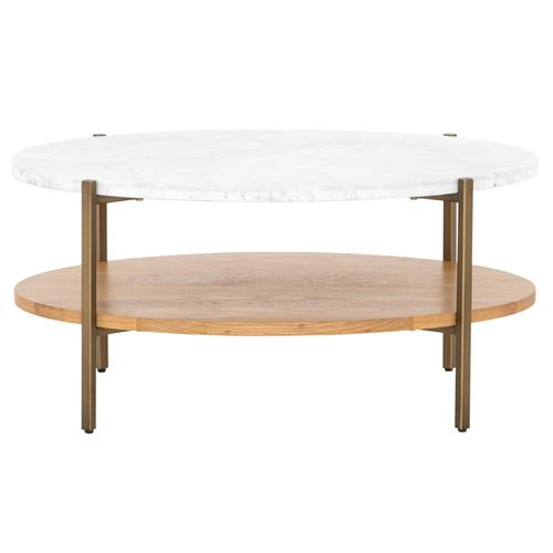 charlotte modern classic white marble top brown oak wood oval coffee table