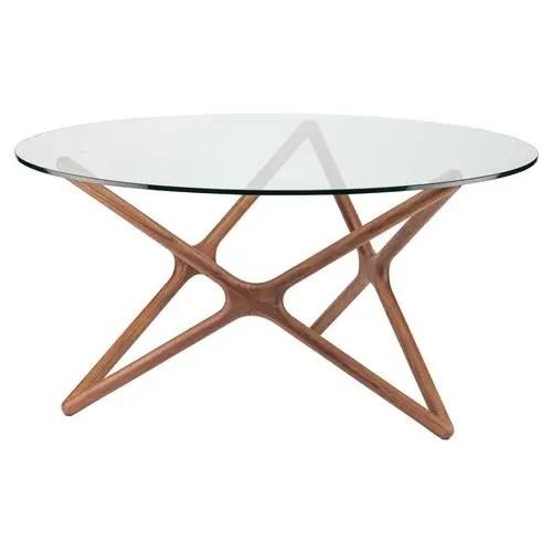 centauri mid century glass top wood mid century dining table 40d