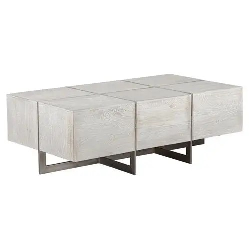 felix rustic lodge iron inlaid rectangular grey wash block coffee table