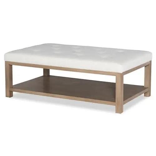 highland house franco modern white linen tufted top wood rectangular ottoman coffee table