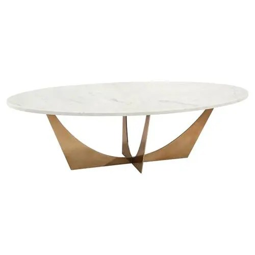 john richard modern classic marble brass oval cocktail table