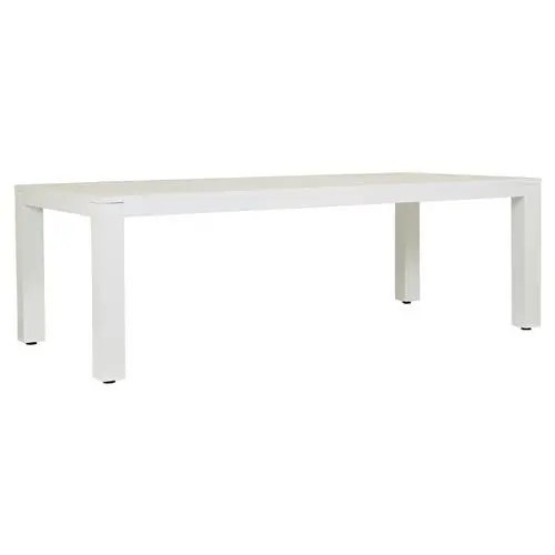 sunset west newport modern white metal rectangular outdoor dining table