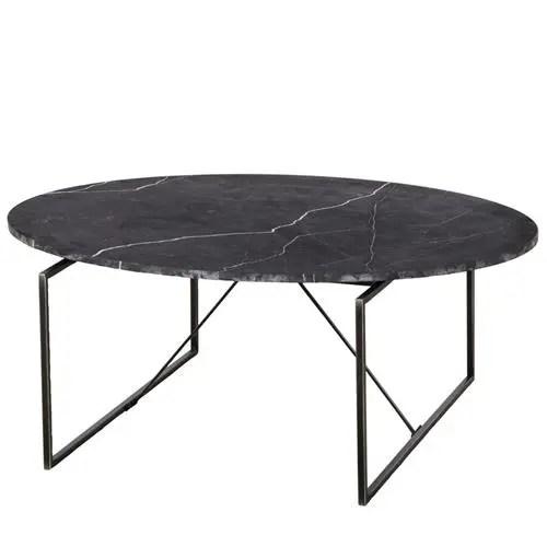 thomas bina georgina modern classic oval black marble metal coffee table