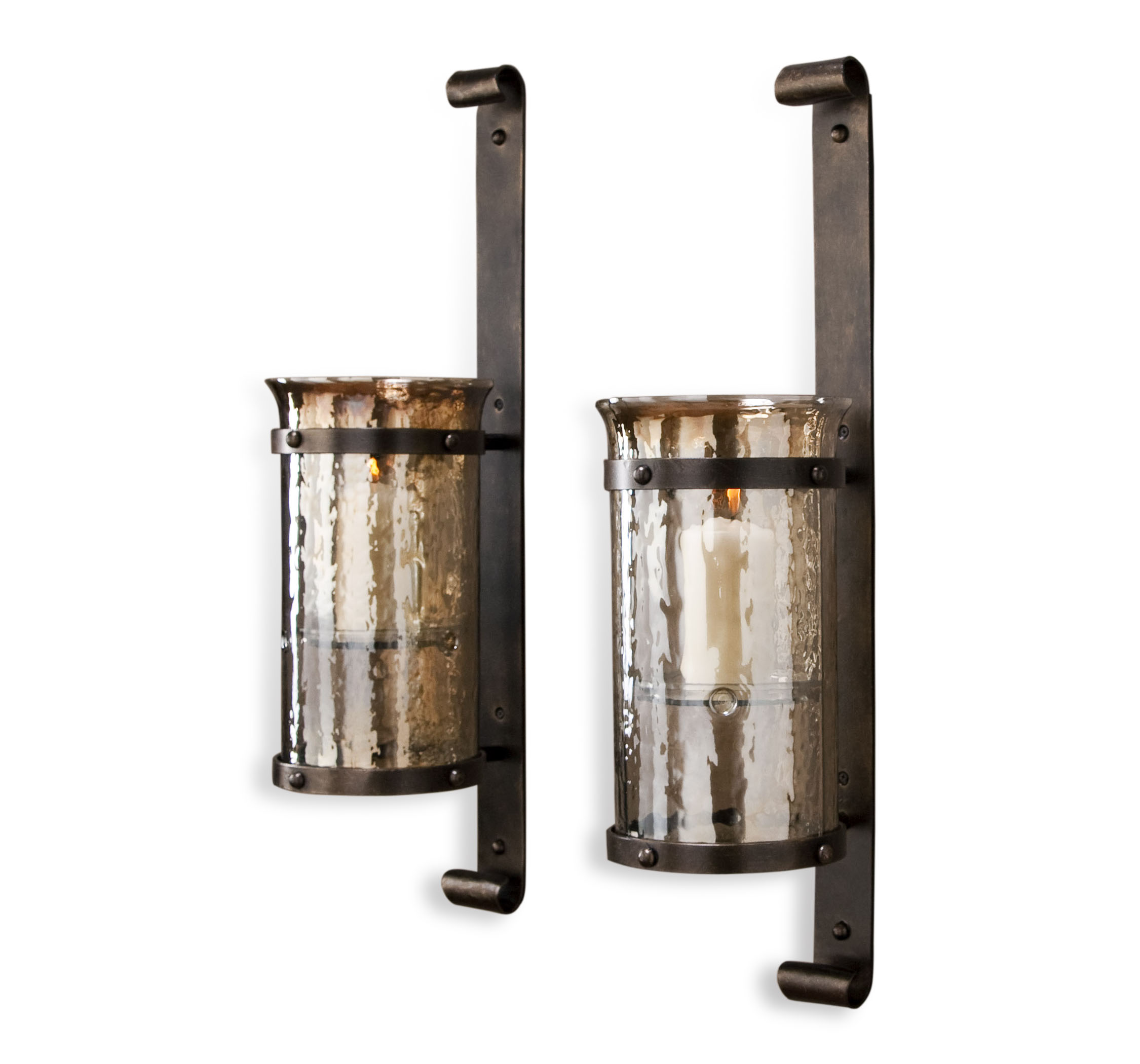 Mathis Rustic Wall Hurricane Sconce - Pair on Rustic Wall Sconces id=42887