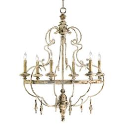 Da Vinci 6 Light French Country Antique Ivory Chandelier Kathy Kuo Home