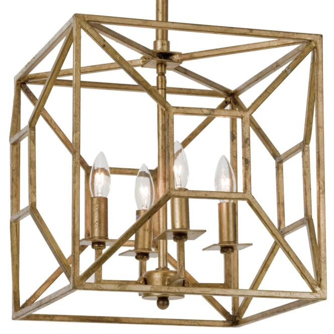 Tippi Hollywood Regency Gold Leaf Geo Cage 4 Light Chandelier Kathy Kuo Home
