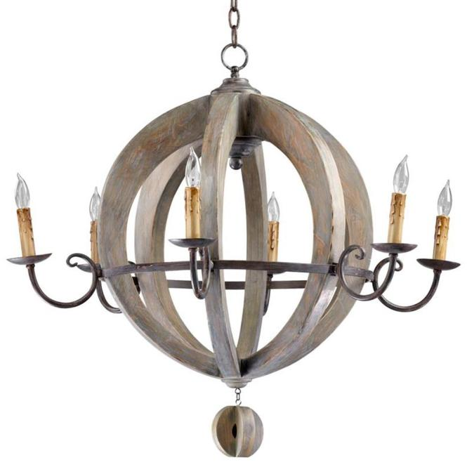 French Country Round Barrel Carved Wood Limed Oak 6 Light Chandelier Kathy Kuo Home