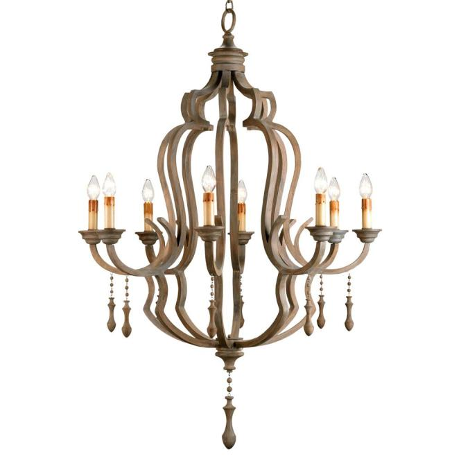Normandy Large French Wood 8 Light Washed Grey Chandelier Kathy Kuo Home