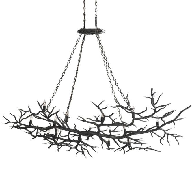 Boca Dramatic Branch Wrought Iron 14 Light Island Chandelier Kathy Kuo Home