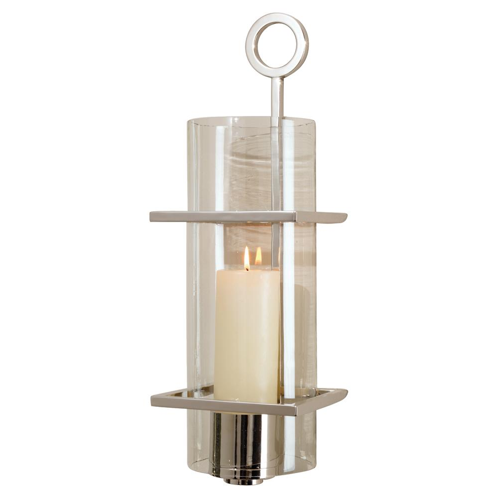 Davisito Modern Silver Metal Clear Cylindrical Glass ... on Silver Wall Sconces For Candles id=55432