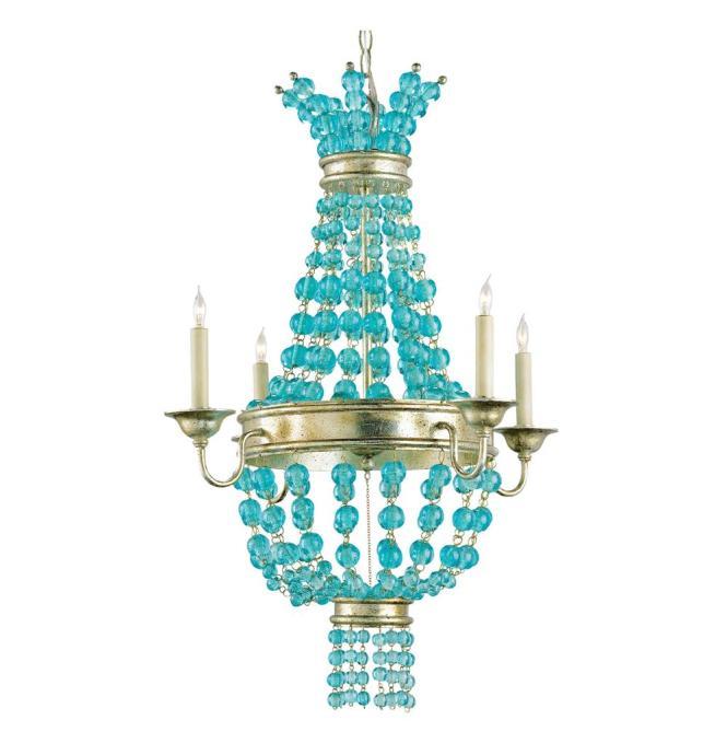 Lea Aqua Blue Glass Bead Champagne Leaf 4 Light Chandelier Kathy Kuo Home