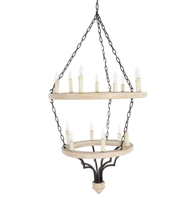 Joselyn Grand 15 Light French Country Cottage Rustic Chandelier Kathy Kuo Home